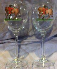 Fox Hunt Hunting Pair of Wine Glasses  Hand Painted