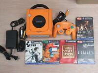 L356 Nintendo Gamecube Official Console Orange Japan GC w/Controller adapter