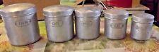 Ancien service 5 Boîtes Box fer Blanc 1950 sucre,farine café,thé,épices France