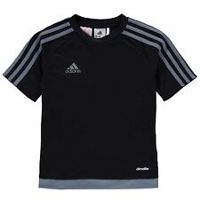 adidas Kids 3 Stripe Estro T-Shirt Junior Boys Short Sleeved age 7-13 NEW COLOUR