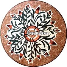Round Brown Table Marble Custom Top Mosaic Stone Inlaid Real Garden Decor H3297
