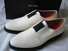 PAUL SMITH SMART DESIGNER IVORY LEATHER SLIP -ON SHOES UK 10 (EU 44)