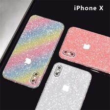 Glitter Full Body Bling Sticker Protector Case Cover Skin for iPhone X #Rose Red