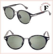 1a9fba2da96 GUCCI 0066 Grey Horn Green Titanium Retro Round Sunglasses GG0066S Unisex