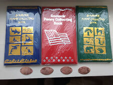 3 Different Elongated Penny Souvenir Books With 4 Free Pressed Pennies! New!