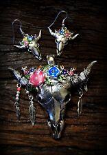 Floral Rustic Bohemian Bull Skull Magnetic Clip Pendant Earring Set BohoCowgirl