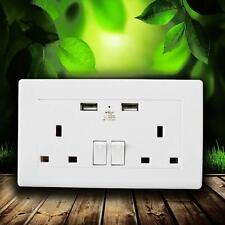 WHITE DOUBLE SOCKET USB 13A 2 GANG ELECTRIC WALL PLUG SOCKETS WITH 2 USB OUTLETS