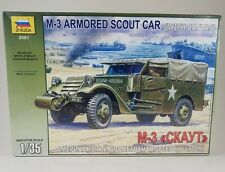 ZVEZDA 3581 M-3 ARMORED SCOUT CAR WITH CANVAS SCALE MODEL KIT 1/35 NEW
