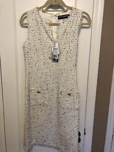 KARL LAGERFELD PARIS Tweed Dress 10UK 38EUR (6US) WHITE SILVER  BLUE Multi NEW