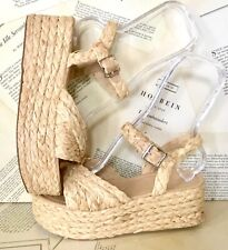 Urban Outfitters Sandals Platform Wedge Wicker Natural Ankle Strap 8 NEW