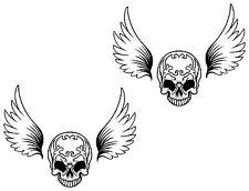 2x Skull Stickers wing Bumper Helmet Snowboard Fridge Guitar Locker Door #31
