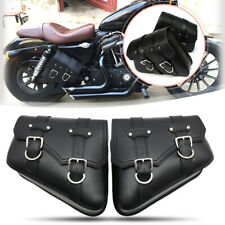 2X Motorcycle Bike Saddlebags PU Leather Pouch For Harley Davidson Touring Black
