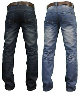 CrossHatch Mens Denim JEANS New Straight Fit Faded Zip Fly Sale Waist Size 30-38