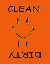 METAL DISHWASHER MAGNET Image Of Orange Smiley Face Clean Dirty Dishes MAGNET