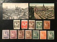 2 Bruxelles 1910 Exhibition Postcards & 12 Cinderellas - ref272