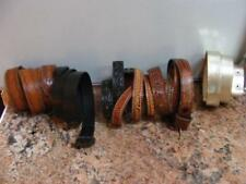 6 Vintage LEATHER BELTS w SNAP Ends some Tooled distressed Wear or CRAFTS Lot