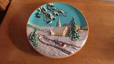 "Byron Molds 1980 ""Winter Church Countryside"" Hand Painted Wall Relief Plate 10"""