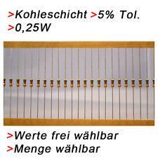 Kohleschicht Widerstände 0,25W 5% Werte und Menge WÄHLBAR 5/10/50/100 Widerstand