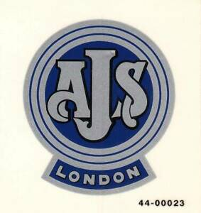 """AJS London Motorcycle, Mylar 3M Decal, Made In England, 2.5"""" x 2.75""""."""