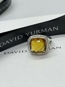 David Yurman Sterling Silver 14mm  Citrine  Diamond Albion Ring Size 8