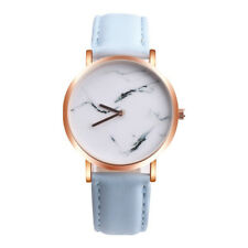 Women's Retro Marble Face Wrist Watch Stainless Steel Leather Band Gold Watches