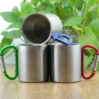 1pcs Stainless Steel Coffee Mug Carabiner Hook Outdoor Camping Double Wall Cup
