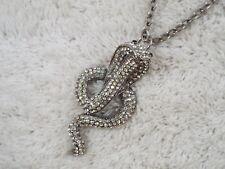 Silvertone Rhinestone Cobra Snake Pendant Necklace (B30)