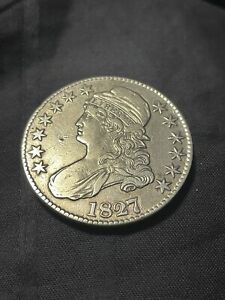 1827 Capped Bust 50 C piece Square Base2 Lettered Edge. Great Detail