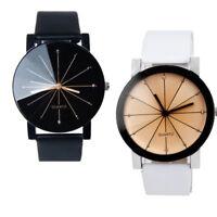 Casual Mens Leather Strap Line Analog Quartz Dia Wrist Watches Fashion Watch
