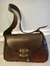 Antique Leather Handbag Over Shoulder Under Arm Dark Patina Steampunk Wild West