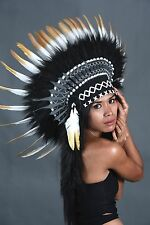 Indian headdress, short length, black, white and gold, warbonnet