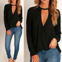 Fashion Women Choker V Neck Loose Casual Long Sleeve Tops Blouse Shirt Black AU