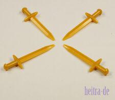 LEGO Ritter - 4 x Schwert / Langschwert in perl - gold / Sword / 98370 NEUWARE