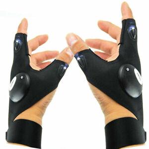 1 Pair LED Light Finger Lighting Gloves Car Repair Outdoors Flashing Artifact US