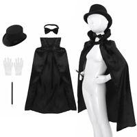 5 Set Unisex Kids Magician Fancy Dress Cloak Gown Cap Hat Wand Gloves Necktie