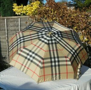 Burberry Folding Umbrella Classic Vintage Check Smooth Curved Leather Handle