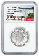 2017 Canada Lion Dance 1/4 oz. Silver Matte Proof $8 NGC PF70 ER SKU46144