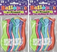 20 x AGE 2 HAPPY BIRTHDAY BALLOONS MULTI  COLOUR  PARTY DECORATIONS  (SE)