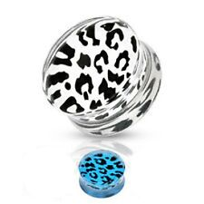1 PAIR (2) 1 INCH  CLEAR WHITE ACRYLIC LEOPARD DOUBLE FLARED SADDLE TUNNEL PLUGS