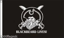 Pirate Skull and Crossed Sabres Edward Teach 'Blackbeard Lives!' 5'x3' Flag