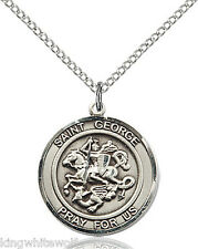 Bliss St George Patron Saint Sterling Silver Medal Pendant Necklace w/Chain
