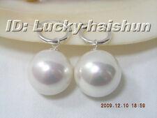 AAA Dangle big 20mm white round sea shell pearl earring