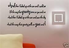GRAVITY COLDPLAY EMBRACE VINYL WALL ART STICKER LYRICS
