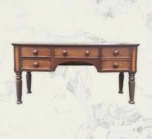 Large Antique Victorian Converted Piano Desk Console Hall Dressing Side Table