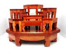 Mini Altar wood Tables worship Thai Buddha Buddhist Amulet Hallow Wooden Sets 9.