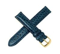 Swiss Legend 18MM Genuine Alligator Leather Watch Band Strap BLUE Gold Buckle