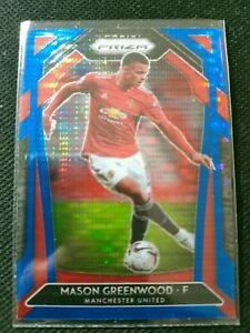 Mason Greenwood 2020-21 Panini Prizm Premier League Soccer Cereal Blue Pulsar SP