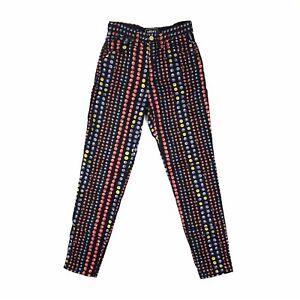 Vintage 1995 Versace Blueberry & Redberry High Waist Jeans, Size UK8. Good Cond