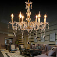 Luxurious 6 Arms Chandelier E12 Pendant Lamp Crystal Glass Ceiling Light Gold