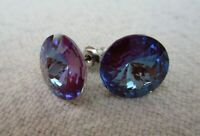 HYPOALLERGENIC  Stud Earrings  Swarovski Elements Crystal in Blue  Large Size